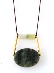 GREEN SERPENTINE, PERIDOT JASPER, GOLD-PLATED BRASS NECKLACE ON BROWN SILK
