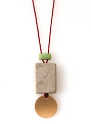 GREY AND CREAM MARBLE, GLASS AND GOLD-FILLED DISK NECKLACE ON RED SILK