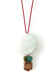 AMAZONITE AND GLASS NECKLACE ON RED SILK