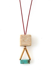RIVERSTONE, MAGNESITE AND GOLD-PLATED BRASS NECKLACE ON RED SILK