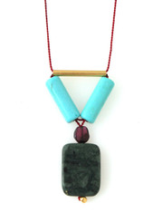 GREEN JASPER, MAGNESITE, GARNET AND GOLD-PLATED BRASS NECKLACE ON RED SILK