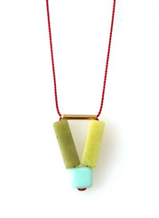 PERIDOT JASPER, GLASS AND GOLD-PLATED BRASS NECKLACE ON RED SILK