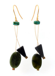 GREEN SERPENTINE, GREY AVENTURINE WITH GLASS EARRINGS