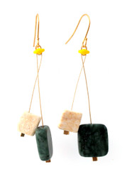 GREEN JASPER, RIVERSTONE WITH GLASS EARRINGS