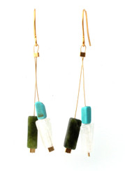 GREEN SERPENTINE, ROSE QUARTZ, MAGNESITE EARRINGS