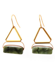 OLIVE JADE WITH GOLD-PLATED BRASS EARRINGS