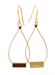 BRASS SQUARE TUBE EARRINGS