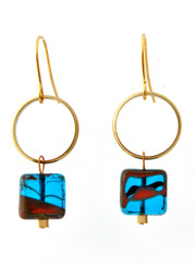 BRASS RING WITH BLUE GLASS EARRINGS