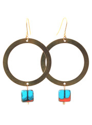 BRASS HOOP WITH BLUE GLASS EARRINGS