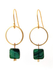 BRASS RING WITH EMERALD GLASS EARRINGS