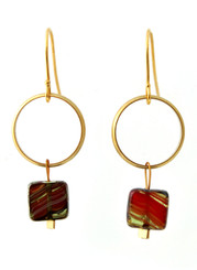 BRASS RING WITH RED GLASS EARRINGS