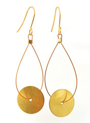BRASS ROUND DISK EARRINGS