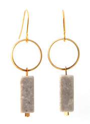 BRASS RING WITH GREY MARBLE EARRINGS
