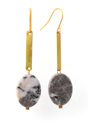 BRASS DROP WITH MARBLE OVAL EARRINGS
