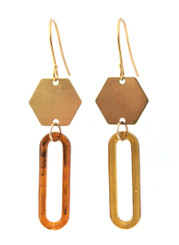 BRASS HEXAGON WITH VINTAGE ACRYLIC EARRINGS