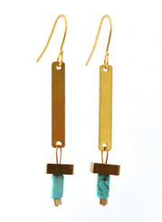 BRASS DROP WITH SQUARE AND MAGNESITE EARRINGS