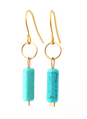 GOLD-FILLED CIRCLE WITH MAGNESITE CYLINDER EARRINGS