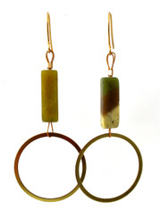 OLIVE JADE AND BRASS CIRCLE EARRINGS