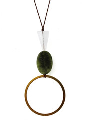 ROSE QUARTZ, GREEN SERPENTINE AND BRASS CIRCLE NECKLACE ON BROWN SILK