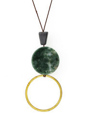 GREY AVENTURINE, GREEN MARBLE AND BRASS CIRCLE NECKLACE ON BROWN SILK