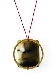SERPENTINE W/QUARTZ AND BRASS CIRCLE NECKLACE ON RED SILK