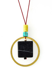 BLACKSTONE, PERIDOT JASPER, MAGNESITE AND BRASS CIRCLE NECKLACE ON RED SILK