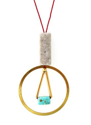 GREY MARBLE, MAGNESITE WITH BRASS CIRCLE NECKLACE ON RED SILK