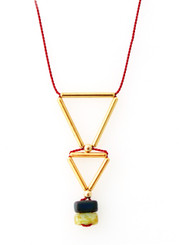GLASS BEADS WITH GOLD-PLATED BRASS TRIANGLE NECKLACE ON RED SILK