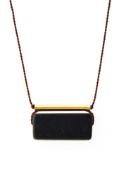 BLACKSTONE WITH GOLD-PLATED BRASS BAR NECKLACE ON BROWN SILK