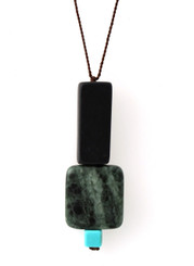 BLACKSTONE, GREEN JASPER AND MAGNESITE NECKLACE ON BROWN SILK