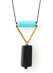 MAGNESITE, GOLD-PLATED BRASS WITH BLACKSTONE NECKLACE ON BROWN SILK