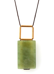 LIGHT GREEN SERPENTINE WITH GOLD-PLATED BRASS NECKLACE ON BROWN SILK