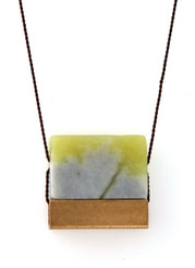 LIGHT GREEN SERPENTINE WITH BRASS SQUARE TUBE NECKLACE ON BROWN SILK