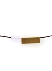 ROSE QUARTZ AND BRASS SQUARE TUBE CHOKER ON BROWN SILK