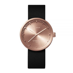 LEFF AMSTERDAM tube watch D38 – rose gold with black leather strap 38mm