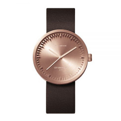 LEFF AMSTERDAM tube watch D38 – rose gold with brown leather strap 38mm