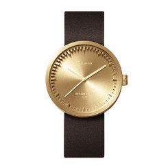 LEFF AMSTERDAM tube watch D38 – brass with brown leather strap 38mm