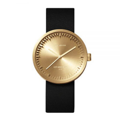 LEFF AMSTERDAM tube watch D38 – brass with black leather strap 38mm
