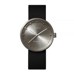 LEFF AMSTERDAM tube watch D38 – steel with black leather strap 38mm