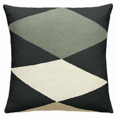 JUDY ROSS WOOL PILLOW- ACE charcoal/sage/cream/blonde