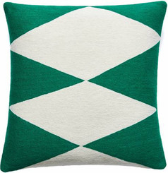 JUDY ROSS WOOL PILLOW- ACE kelly green/cream