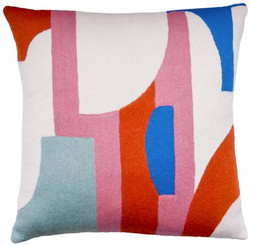 JUDY ROSS WOOL PILLOW- COMPOSITION cream/dusty pink/coral/powder blue/marine