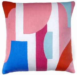 JUDY ROSS WOOL PILLOW- COMPOSITION dusty pink/cream/cerise/marine/powder blue/coral