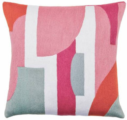 JUDY ROSS WOOL PILLOW- COMPOSITION dusty pink/cream/cerise/powder blue/coral