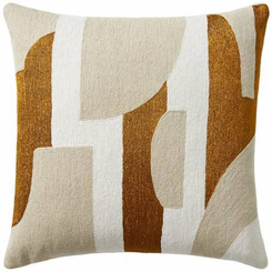 JUDY ROSS WOOL PILLOW- COMPOSITION cream/oyster/gold rayon