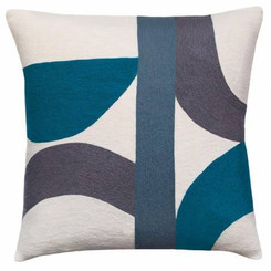 JUDY ROSS WOOL PILLOW- ECLIPSE cream/slate/grey/tropical blue