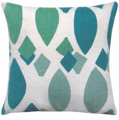 JUDY ROSS WOOL PILLOW- MARQUISE cream/peacock/pool/aqua