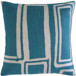 JUDY ROSS WOOL PILLOW- PROCESSION peacock/cream