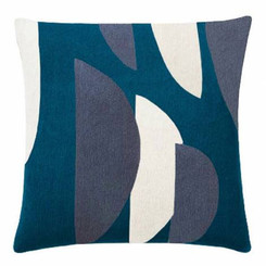 JUDY ROSS WOOL PILLOW- SLICE tropical blue/cream/slate