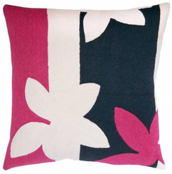 JUDY ROSS WOOL PILLOW- SUNSET cerise/cream/navy